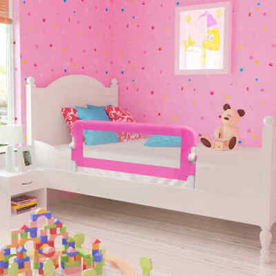 2pcs 102x42cmToddler Safety Bed Rail Protective Gate Guards Pink Foldable Y5T1