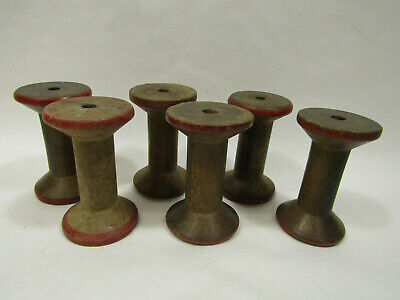"Lot of 6 Vintage Wooden 3"" - 3 1/2"" Industrial Textile Painted Bobbins Spools"