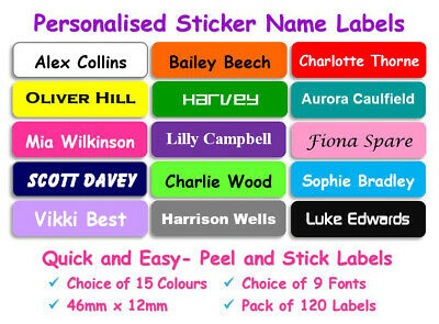 120 Mini Coloured Waterproof Kids School Property Name Labels Stickers SI14