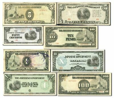 Phillipines Japanese Invasion Money Note Set