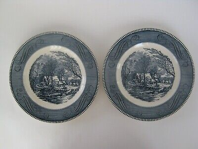 2- Currier & Ives Blue/ White Dinner Plates-The Old Grist Mill- Royal China-Mint