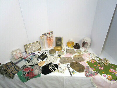 Huge Vintage Women's Junk Drawer Lot-Beaded Purses -Collectibles-Jewelry-Perfume