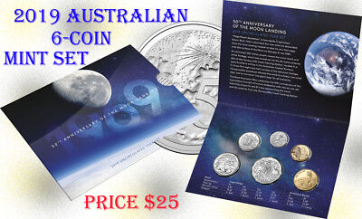 2019 Australia 6-Coin Uncirculated Mint Set RAM 50th Anniversary of Moon Landing