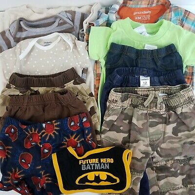 Lot of 12 Infant Boy Clothing Bodysuits Shirts Pants Shorts Bib  6mos to 12mos