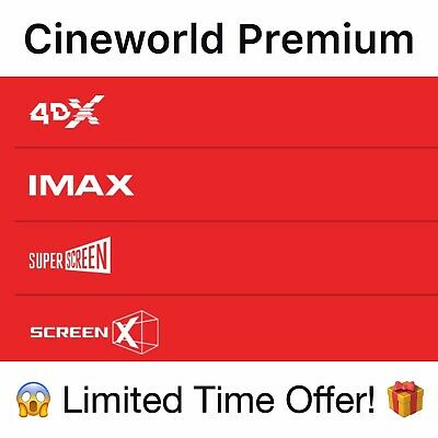 1 x Cineworld cinema 3D 4DX Screen X tickets Adult Kids - INSTANT EMAIL DELIVERY