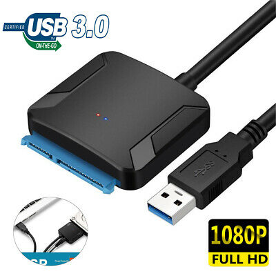 "USB 3.0  to SATA 2.5"" 3.5"" Hard Disk Drive HDD SSD Adapter Converter Cable hv2n"