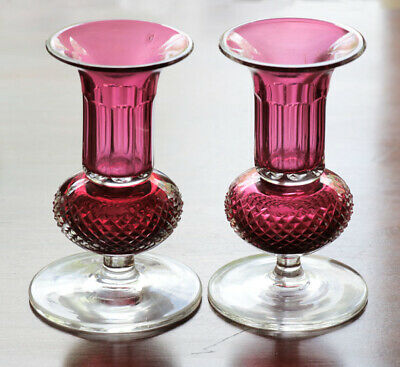 Pair, cranberry and clear cut glass mantle vases, mid-19th century [11985]