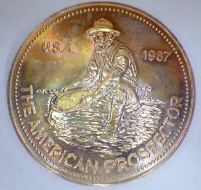 Gold Nugget 1987 American Prospector Coin 1 Troy OUNCE FINE Silver Round .999