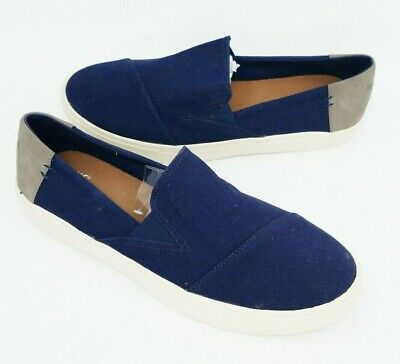 Toms Mens Luca Solid Navy Blue Canvas Size 9 Slip On Shoes