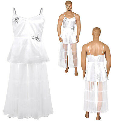 Sissy Mens Bride Wedding Tulle Satin Dress Fancy Dress Costume Outfit Comedy
