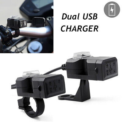 ABS Motorcycle General Car 12V Waterproof Switch Dual USB Car Charger Handlebar