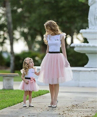 f9fb3c0352 Family Matching Mother and Daughter Women Kid T-shirt Tutu Skirt Dress  Outfits