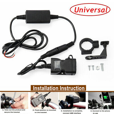 12V Waterproof Motorcycle Handlebar Mount Dual USB Phone Charger Switch Adapter