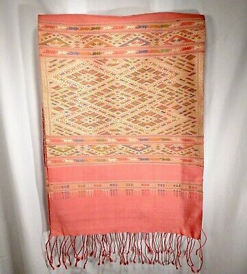 Vintage Laos Laotian Woven Silk Shawl, Salmon Color - 56443