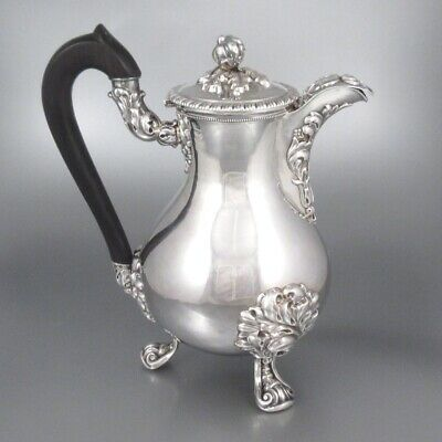 Antique French Sterling Silver Coffee Pot, Veyrat, 1838-1840 King Louis-Philippe