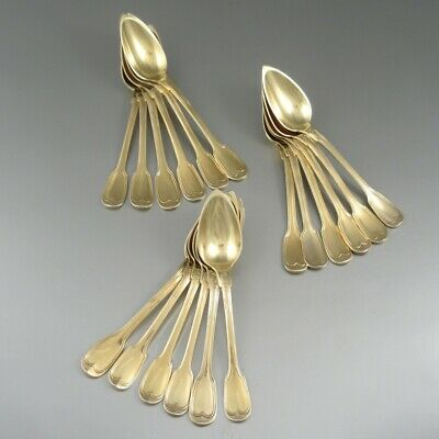 AntiqueFrench Sterling Silver Vermeil Gold Wash Coffee Tea Spoons 1830's 18 pcs