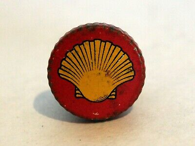 Antique 1930s Shell Oil Company Oil Tin Cork Cap