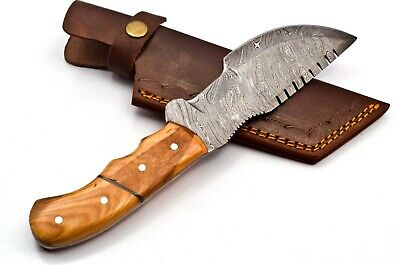 Custom Twist Damascus Steel Tracker Hunting Knife FF34 Wood Handle