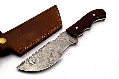 Custom Twist Damascus Steel Tracker Hunting Knife FF39 Micarta Handle