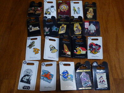 AUTHENTIC Disney Trading Pins Lot 25 No Duplicates New On Cards I