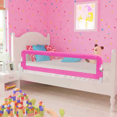 2pcs 150x42cm Toddler Safety Bed Rail Protective Gate Guard Pink Foldable L8I0