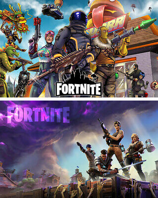 2PCS Fortnite Video Game Soldier Team Poster Art Print 30x53cm 12x21inch