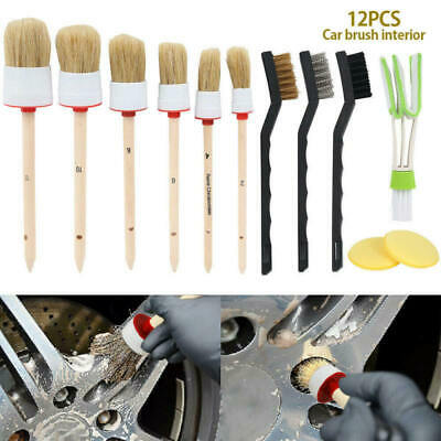 12 pcs Car Detailing Brush Kit Boar Hair Vehicle Auto Interior Wheel Clean Set