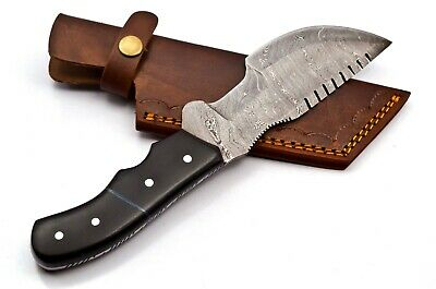 Custom Twist Damascus Steel Tracker Hunting Knife FF43 Micarta Handle