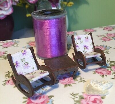 1:48, Handmade, Dolls House, Rocking Chairs And Table Set