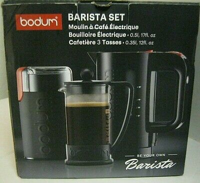 Barista Set Bodum Coffee Grinder Water Kettle 3 Cup French Press Coffee Maker