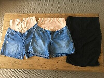 2 x Maternity Jeanswest shorts - Size 10 & 1 x Kmart maternity skirt - Size 12