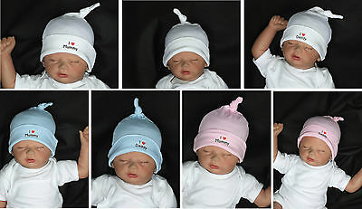 Baby Basic Equipment Hat I Love Mummy Pink Blue I Love Daddy White Top!
