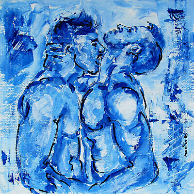 Two men boys body original art painting male gay couple kissing muscle torso abs