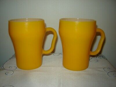 Pair of Vintage Fire-King Yellow Milk Glass Soda Mug Cups