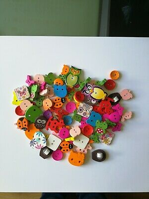 Mixed Coloured Wooden Buttons Bulk Craft Job Lot Scrap Book Children Boy Girl