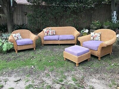 Garry Masters 4pce Cane Rattan Lounge Suite~Chair~Indoors/Outdoors+Footstool