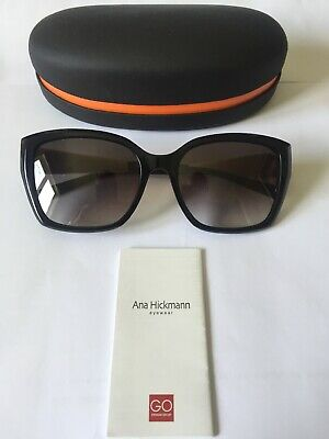 ANA HICKMANN AH9190 ACETATE SUNGLASSES IN COLOUR A01 BLACK  WITH GREY LENSES