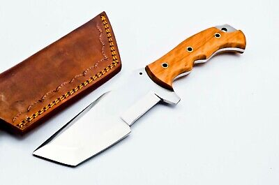 Custom Stainless Steel Tanto Tracker Hunting Knife FF29 Wood Handle