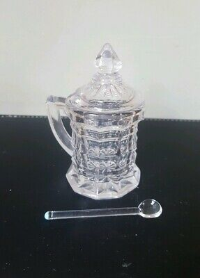 Vintage Art Deco Glass Mustard Pot with Blue Tipped Glass Spoon and Lid