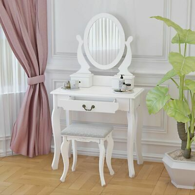 Dressing Table Furniture Wooden Mirror Stool 3 Organizer Drawers Antique Bedroom