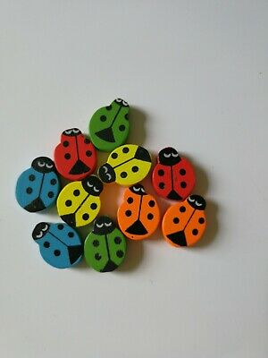 Wooden Ladybug Buttons Mixed Colours Lady  Bird Ladybird Cute Boy Girl Baby