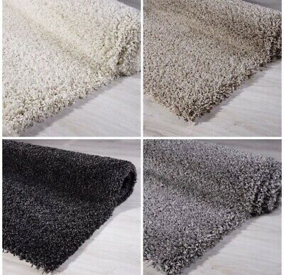 Large Small Rug New Modern Soft Thick Shaggy Grey Silver Black Cream Brown Beige