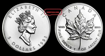 Lot Of  {2}  1993  Canadian Maple Leaf  1 Ounce  {Unc}  .9999  Fine Silver Coins