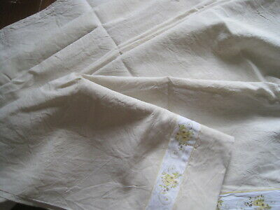 2 Available: Pretty Vintage French Linen Metis Sheet, Bedding Fabric Or Projects