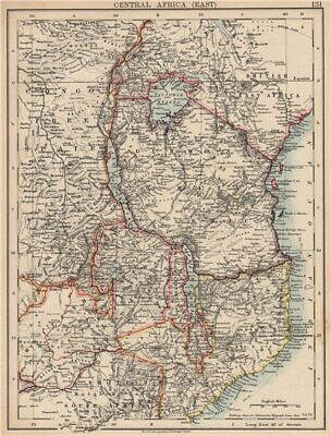 COLONIAL EAST AFRICA. German/British/Portuguese East Africa. Tanzania 1906 map