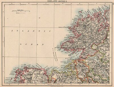 IRELAND NORTH WEST COAST.Donegal Mayo Sligo Leitrim Fermanagh.JOHNSTON 1906 map