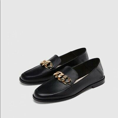 fcbfff646d1b BRAND NEW ZARA soft black leather Flats with pointy toes SIZE 37 ...