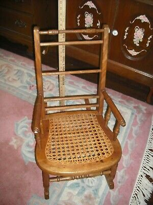 "Antique Vintage CHILD'S Wood ROCKER Rocking Caned Seat CHAIR ; 25"" HIGH; 12"" W"