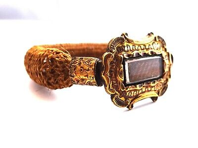 Antique Victorian Pinchbeck Hair Jewellery Mourning Bracelet. F108F