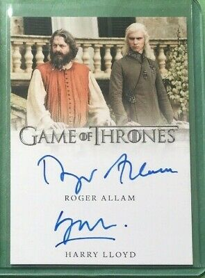 Roger Allam / Harry Lloyd dual 2019 auto Rittenhouse Game of Thrones Inflexions